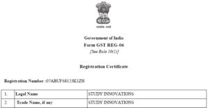 GST Registration No. Study Innovations