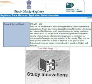 Study Innovations is a Registered Trade Mark in Education. Registration by Registrar of Trade Marks, Govt. of India, New Delhi
