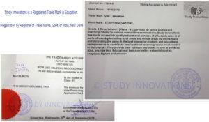 Study Innovations is legally Registered Trade Mark in Education. Registration by Registrar of Trade Marks, Govt. of India, New Delhi